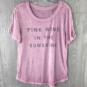 Zoe + Liv Women's XL 'Pink Wine in the The Sunshine' Burnout T-Shirt Tee Scoop